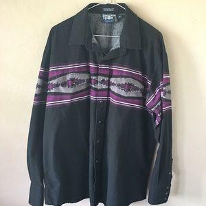Vintage Brooks & Dunn Pearl Snap Aztec Shirt Sz XL